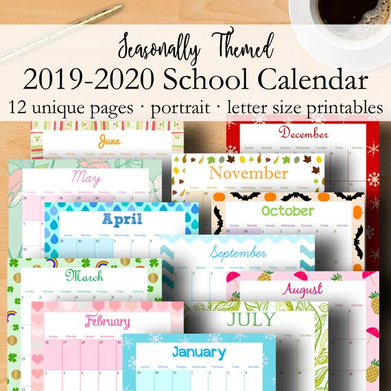 photo relating to School Calendar -16 Printable identify 2019 2020 Calendar Printable, Regular monthly Planner 2019 2020 Higher education Calendar, Every month Printable Planner Thirty day period Application, Letter Dimensions, Immediate Down load