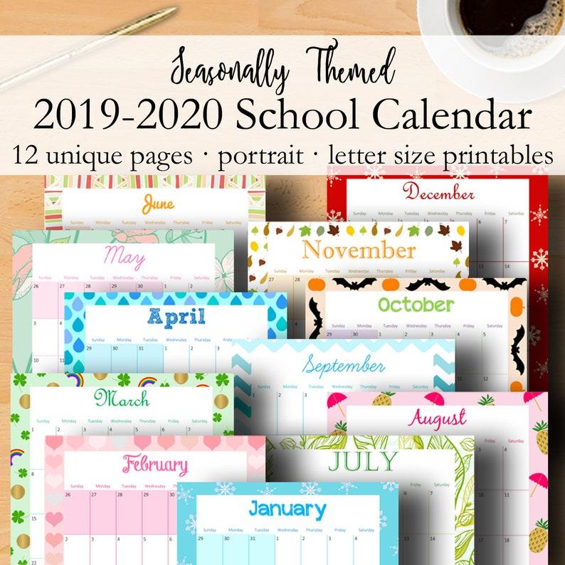 2019 2020 Calendar Printable Monthly Planner 2019 2020 School Etsy