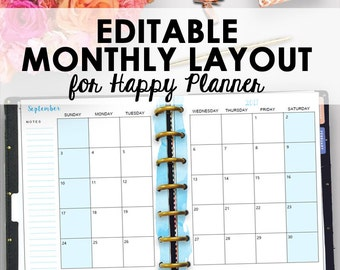 Happy Planner Monthly Inserts, Happy Planner Inserts Printable Monthly Insert, Month Planning Insert Editable Month, 7 x 9, Instant Download