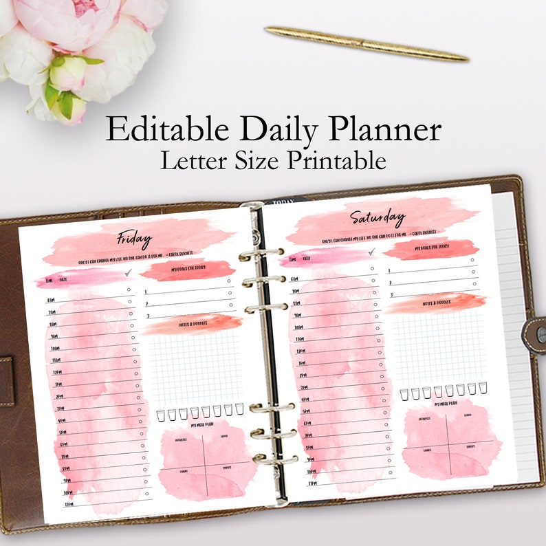 image about Organization Printables known as Each day Planner Printable, Day-to-day Company Printables, Planner Inserts, Watercolor Editable Designing Template, Letter Sizing Quick Obtain