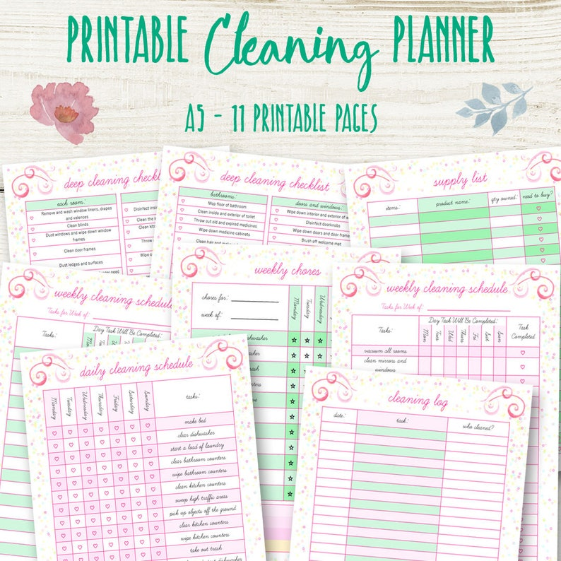 photo relating to Printable House Cleaning Checklist identify Property Cleansing Record, A5 Cleansing Planner Printable, Filofax List Planner Weekly Listing Printables Family Organizer Down load