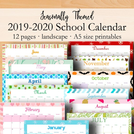 graphic about School Calendar -16 Printable referred to as 2019 2020 Calendar Inserts, Instructional Calendar Printable, A5 Month-to-month College or university Planner Calendars, Every month Inserts A5 Printables Quick Down load