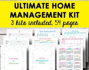 Home Management Binder, Household Planner Printable Home Planner Address Binder Printable Monthly Calendar 2018 Letter Size Instant Download