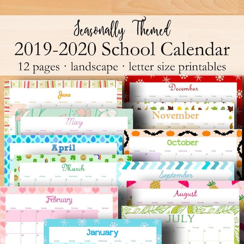 Modern 2019 2020 Mid Year Diary: 2019 2020 School Calendar Printable Monthly Planner 2019