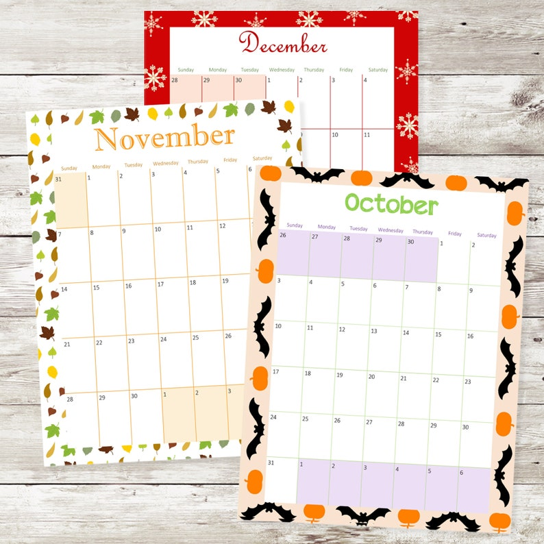 Monthly Calendar 2021 A5 Planner Inserts A5 Printable | Etsy