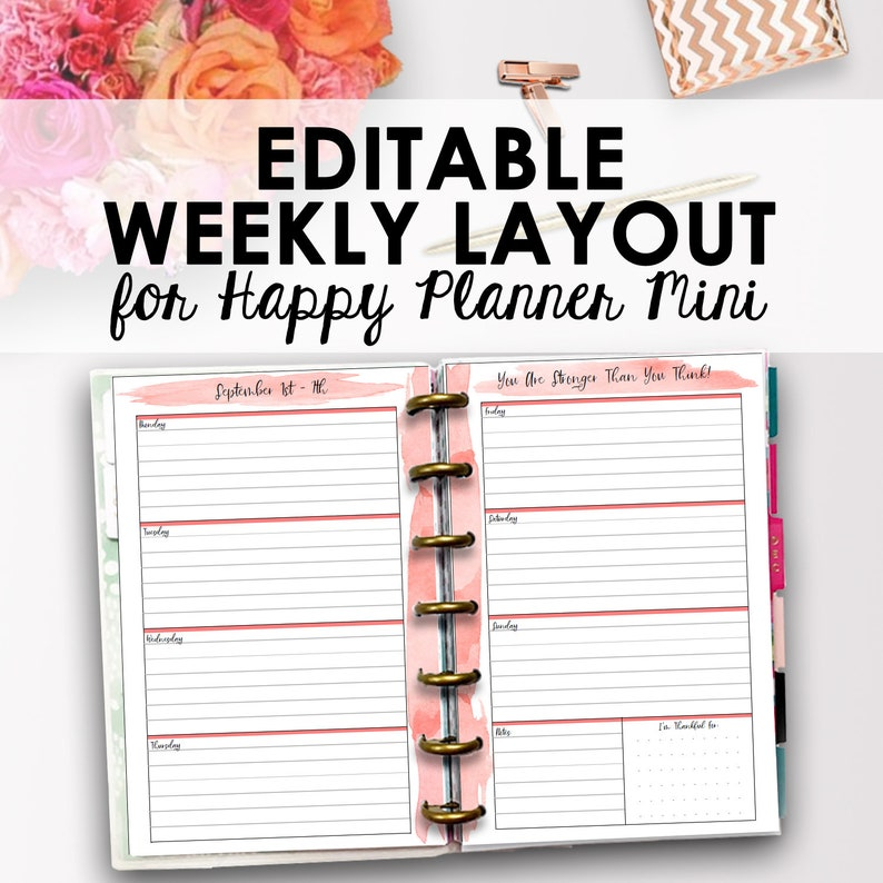 Mini Happy Planner Weekly Inserts, Happy Planner Mini Printable Layout,  Editable Weekly Pages Printable Inserts, 4 63 x 7, Instant Download