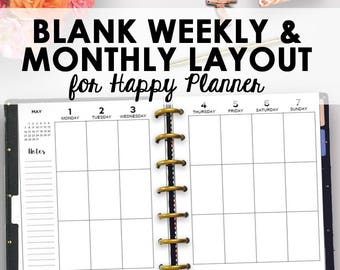 Blank Happy Planner Kit, Editable Happy Planner PDF, Best Year Ever Planner Printable Editable Blank Planning Inserts 9 x 7 Instant Download