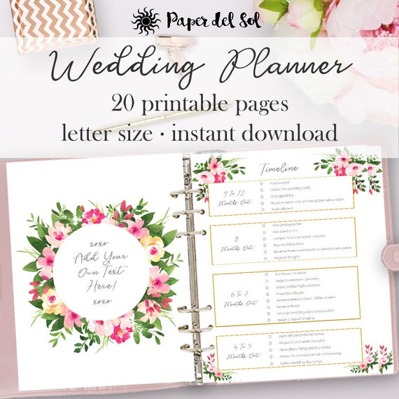 wedding planner printable wedding planning pages do it etsy