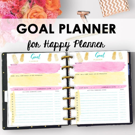 happy planner goal setting printable goals tracker goal etsy