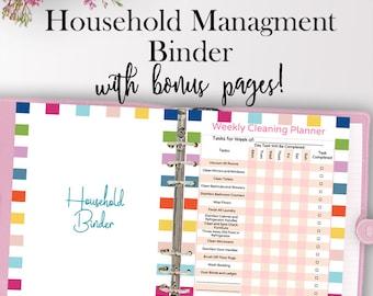 Home Management Binder, Home Planner Printable, Household Planner Printables, Household Binder Organization, Letter Size, Instant Download