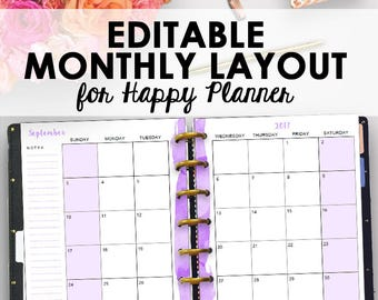 Happy Planner Purple Inserts, Happy Planner Monthly Printable Inserts, Month Planning Printables Editable Month Printables, Instant Download