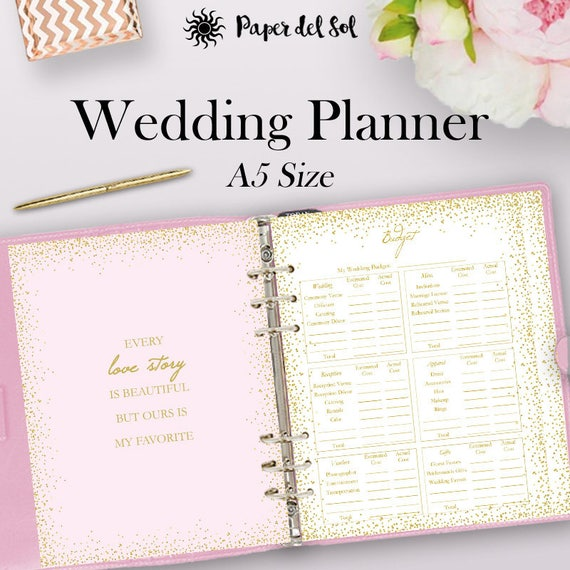 filofax wedding planner printable a5 wedding planner binder etsy. Black Bedroom Furniture Sets. Home Design Ideas
