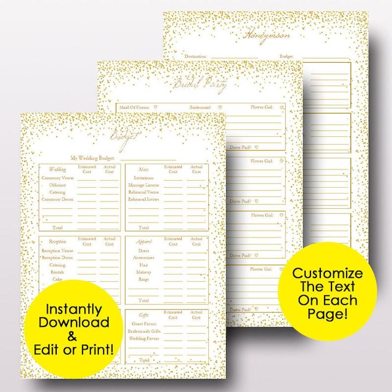 Wedding Planner Template PDF Editable Wedding Planner   Etsy