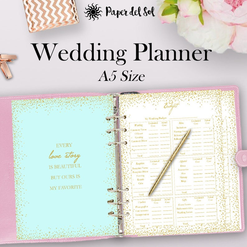 image relating to Wedding Planner Book Printable titled Wedding ceremony Planner Guide Printable, Wedding day Creating E-book Printable, Developing Record, Planner Binder Printables, A5 Filofax, Fast Down load