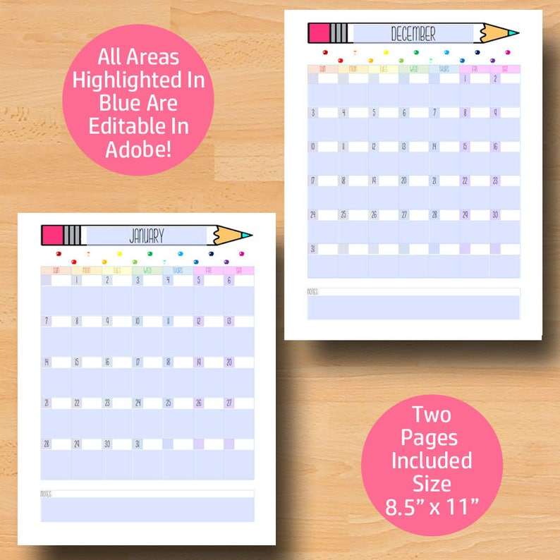 Printable Calendar 2020 2021 Monthly Calendar Printable   Etsy