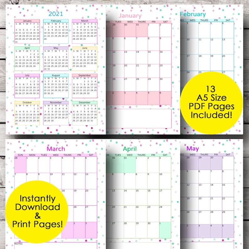 Monthly Calendar Printable Monthly Planner Calendar 2021 ...