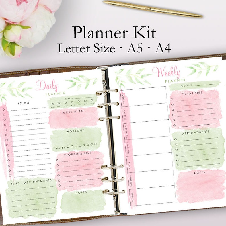photograph about Daily Planner Printable identify 2019 Planner Printable, Day by day Planner Webpages, Weekly Planner 2019, Weekly Printable Planner, Aims Sheet, Method Internet pages, Inserts Letter A5 A4