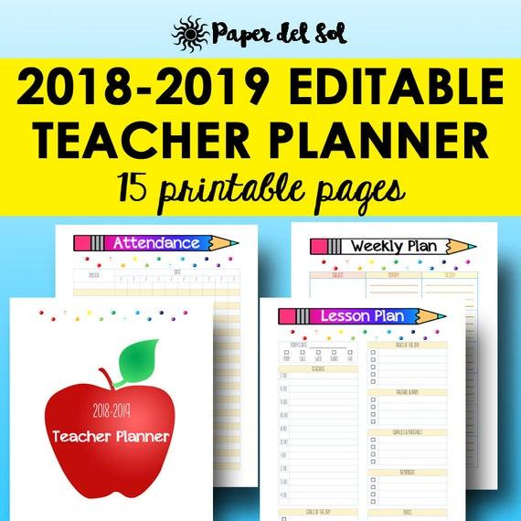 teacher planner 2018 2019 editable lesson planner printable etsy