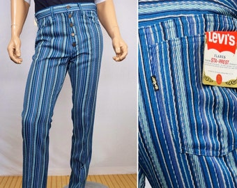 S//M//L Ladies 70s Deluxe Blue Flared Trousers Patchwork Denim