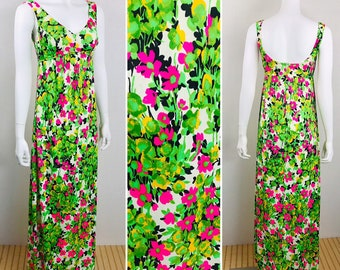 cd26d31f82da7 Vintage 60s 70s Summer NeOn PsYcHeDeLiC Pink Flower Bikini Beach Pool Cover  Up Swim Festival Sun Dress Maxi 36 bust S M
