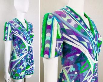cd69e1fc2d Vintage 1960s EMILIO PUCCI TeRRy CLoTh Multicolor Purple Green Geometric  Pattern Romper COUTURE Swimsuit Beach Cover Up