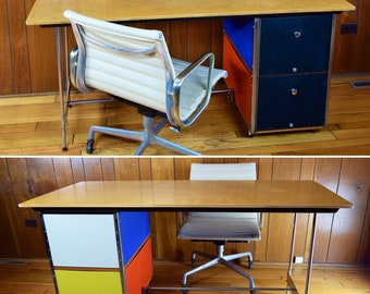 76662a12a2d97 SCARCE Vintage MCM 1952 Herman Miller Charles   Ray Eames ESU Desk D20  Knoll Mid Century Mod