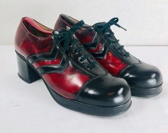 cd021551c11 Vintage 70s DANETREE Stead Simpson Mens Size 9 - 9.5 Two Tone Unique  Marbled Burgundy Black Lace Up Platform Disco Shoes Glam Rock Bowie