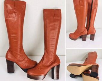 0ca9cf7be02 Deadstock Vintage 70s Reddish Brown Leather Tall Knee High PLATFORM Huge 4