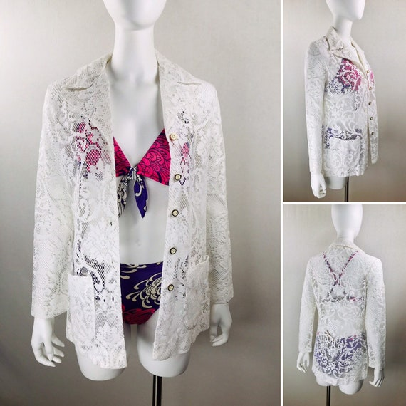 Vintage 60's 1960's Women's White Crocheted Lace  