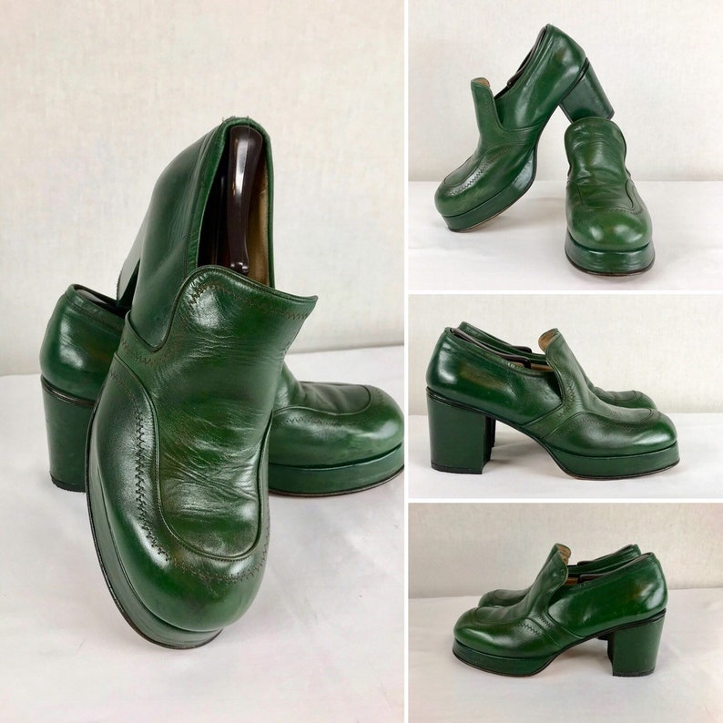 3a88150aae5 Vintage 1970 s Men s Size 10 10.5 Green Leather with
