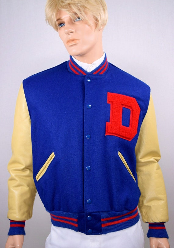 Vintage 70's Retro Men's Letterman Varsity Jacket by DeLong Wool with Leather Sleeves D Patch Hipster L 44 Clean