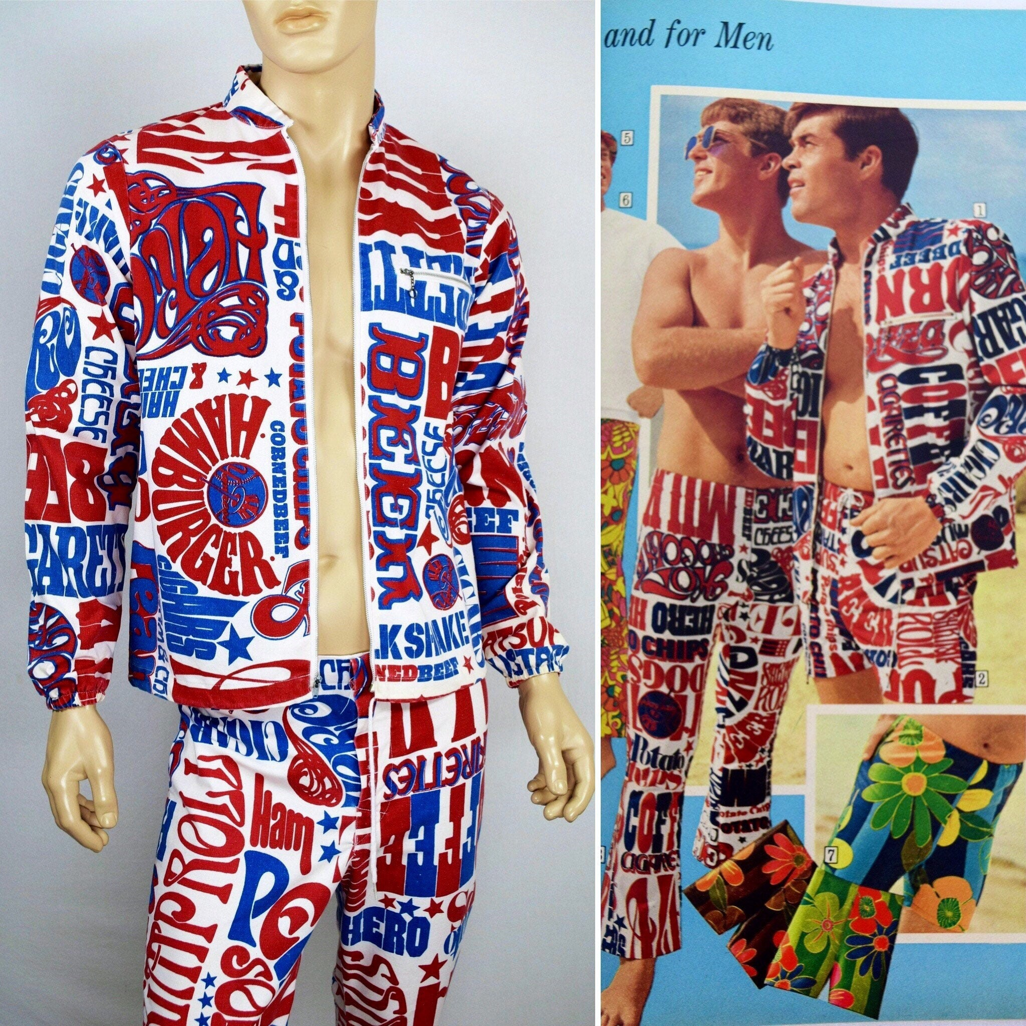 1960s – 70s Men's Ties | Skinny Ties, Slim Ties Vintage Mens 1960S  Sears 1969 Summer Love Collection Psychedelic Mod Surfer Ny Yankees Pop Art Cabana Beach Pants Jacket Set Size M Vtg $599.99 AT vintagedancer.com