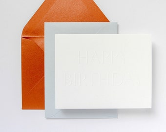 8-Pack Pure White Embossed Birthday Card, Copper / Blue Envelope