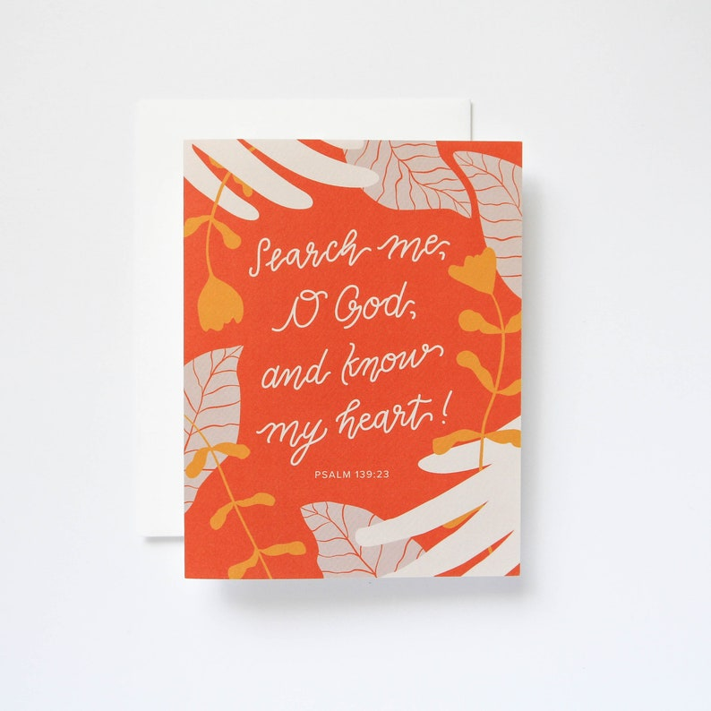Psalm 139:23 Handlettered Encouragement Greeting Card
