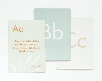 ABC Scripture Cards (Set 2), ABC Bible Verse Cards, Scripture Memory Flash Cards for Kids, Memory Bible Verse, Alphabet Flash Cards
