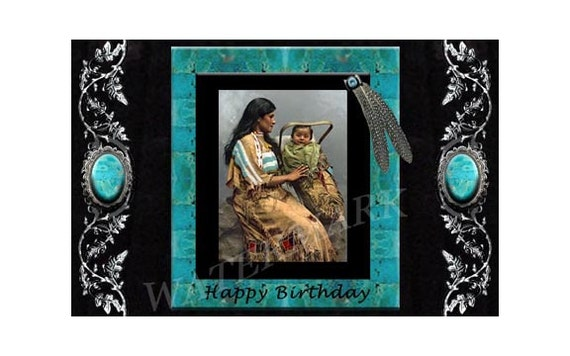 Native american indian birthday greeting card printable etsy image 0 m4hsunfo