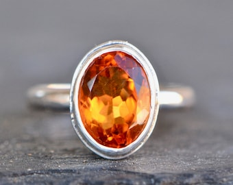 Christmas Gift Idea Natural Madeira Citrine Gemstone Ring Oval Cut Citrine Birthstone Gift Ring Yellow Gold on Sterling Silver Ring