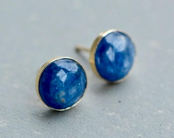 Kyanite Earrings, Stud Earrings, Round Stud Earrings, Kyanite Studs, Everyday Earrings, Blue Kyanite, Gift for Mom, Kyanite Jewelry, Studs