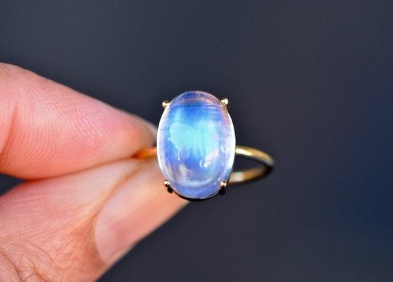 Beautiful Moonstone Ring,Blue Moonstone Rings,June Birthstone Ring,Gemstone Ring,Gemstone ring,Silver moonstone Blue ring Size 5 6 7 8 9 10