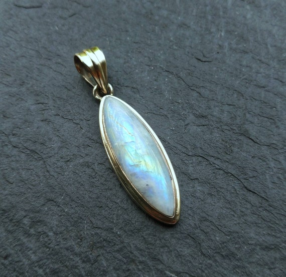 Silver Moonstone Pendant Necklace, Moonstone Neckl