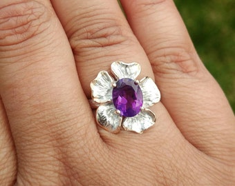 Amethyst Ring, Sterling Silver Ring, Flower Ring, Purple Gemstone Ring, Statement Ring, Mixed Metal Ring, Girlfriend Gift, Anniversary Gift
