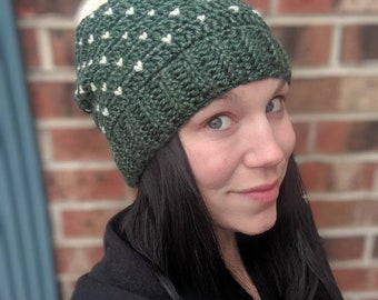 2d824940a43 Womens Green and Ivory winter slouchy hat. Green with ivory embellishments. Pom  pom beanie with knit hearts. Available for customization.
