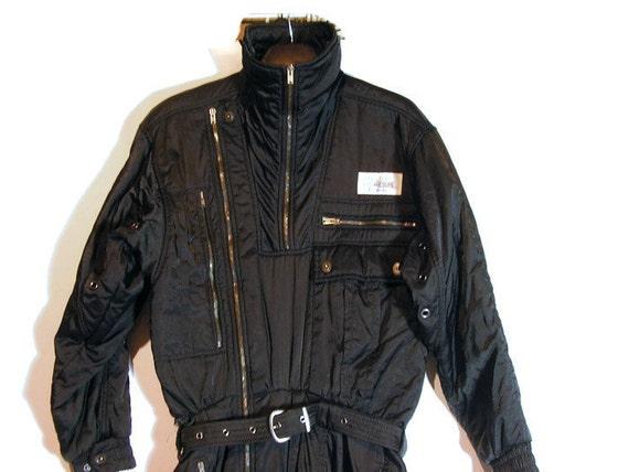 Black Ski Suit Retro Ski Suit Man's Ski Suit Man's