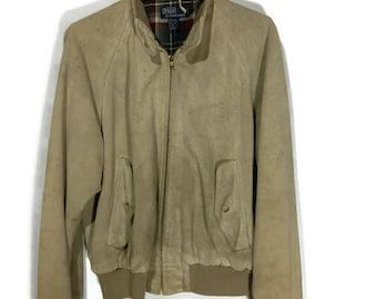 Polo Suede Bomber Jacket Vintage Suede Flight Jacket Ralph Lauren Retro Suede Jacket Vtg Polo Leather Jacket Polo Men's Vintage Jacket A8N37V