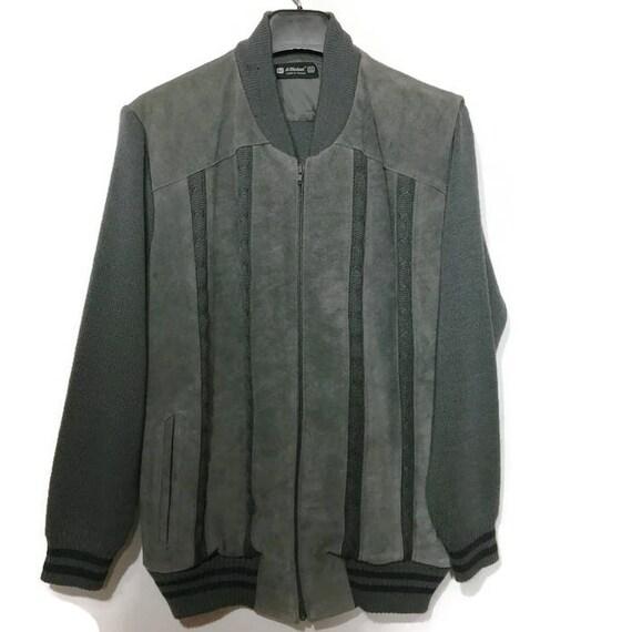Man's Vintage Gray Suede Sweater Bomber Jacket Vtg
