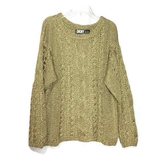DKNY Vintage Metallic Gold Cable Knit Sweater Woman s  dbce6d95e
