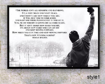 Frasi Celebri Rocky 6.Rocky Balboa Inspirational Quote Poster Design Motivational Etsy