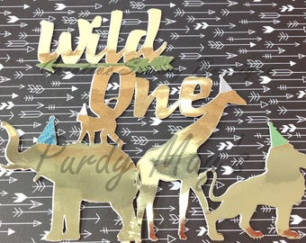 Wild One Cake Topper, First birthday cake topper, Custom Cake Topper, Birthday Cake Topper, gold foil Cake Topper,