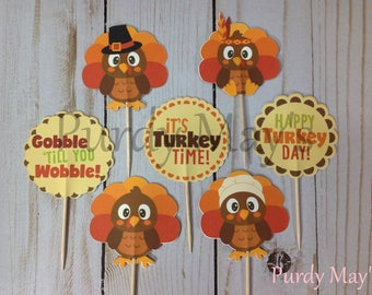 Thanksgiving Cupcake Toppers, Thanksgiving Picks, Thanksgiving Cupcake Picks, Thanksgiving Dessert Picks, Turkey Cupcake Toppers