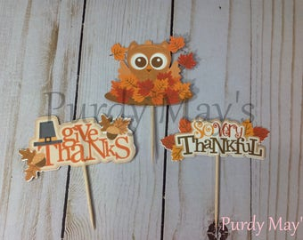 Thanksgiving Cupcake Toppers, Thanksgiving Picks, Thanksgiving Cupcake Picks, Thanksgiving Dessert Picks, Owl Thanksgiving Picks